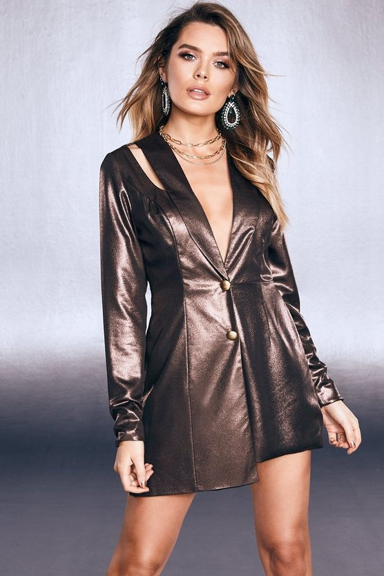 Womens Black Premium Foiled Satin Tux Romper