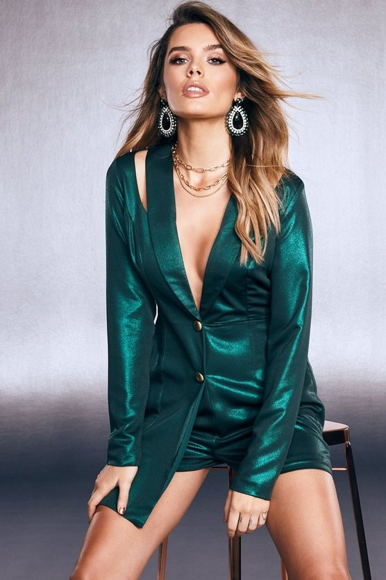 Womens Emerald Premium Foiled Satin Tux Romper