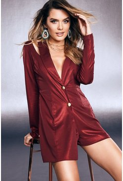 Womens Red Premium Foiled Satin Tux Playsuit