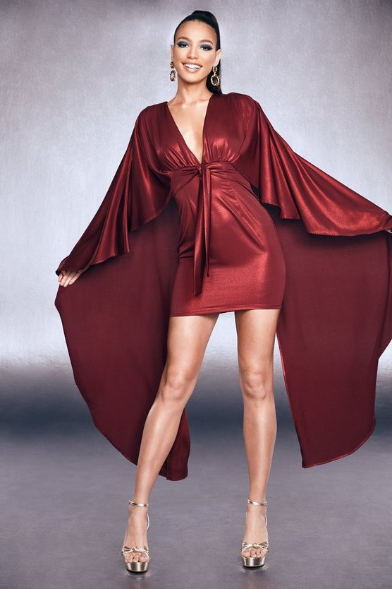 Premium Foiled Satin Belted Cape Dress