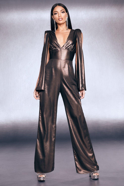Premium Foiled Satin Cape Sleeve Wide Leg Jumpsuit