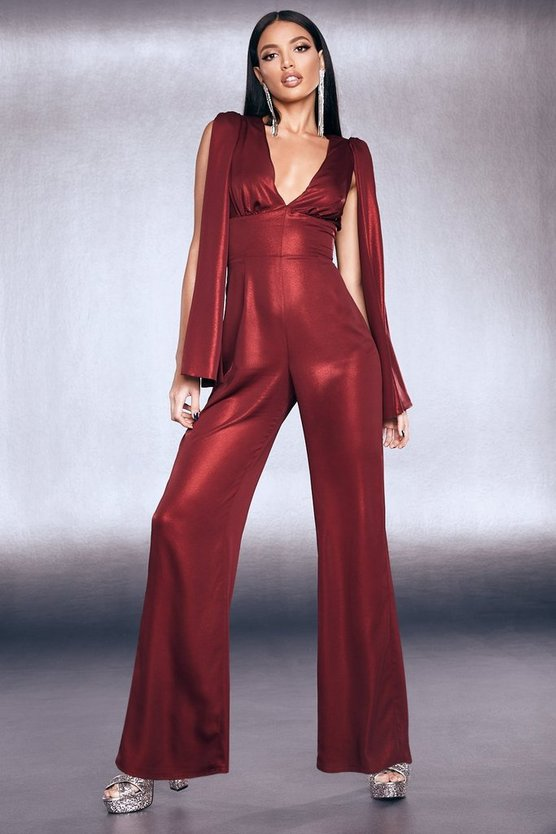 Womens Red Premium Foiled Satin Cape Sleeve Wide Leg Jumpsuit