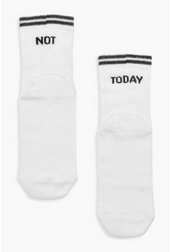 Womens White 'Not Today' Slogan Sport Stripe Socks