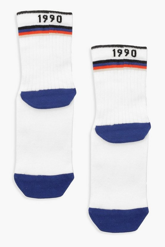 Womens White '1990' Slogan Multi Colour Sport Stripe Socks
