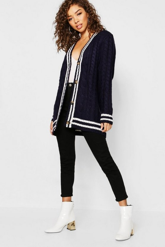 Cable Stripe Midi Cardigan