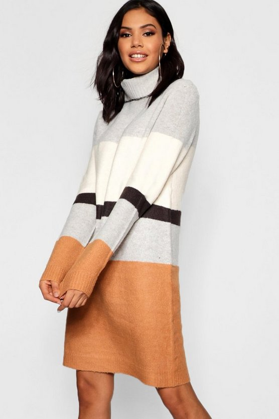 Womens Multi Roll Neck Colour Block Knitted Dress