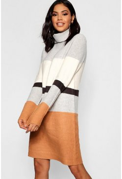 Roll Neck Colour Block Knitted Dress, Multi, Женские