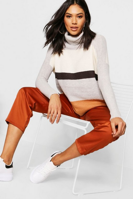Womens Grey Roll Neck Colour Block Jumper