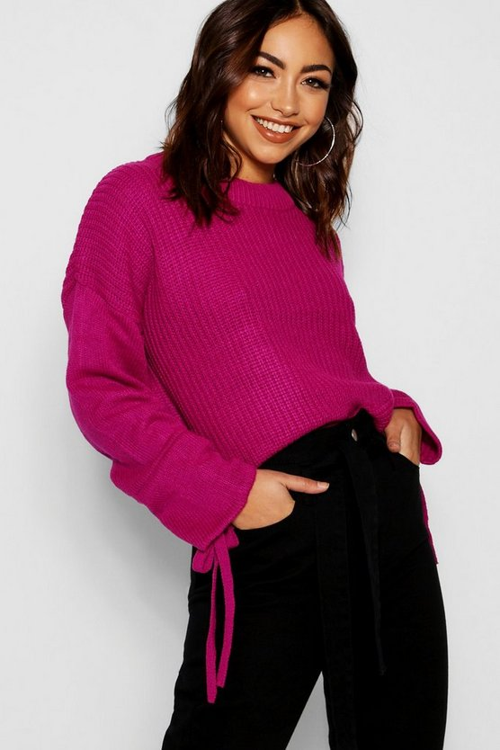 Womens Berry Ruched Sleeve Crop Jumper