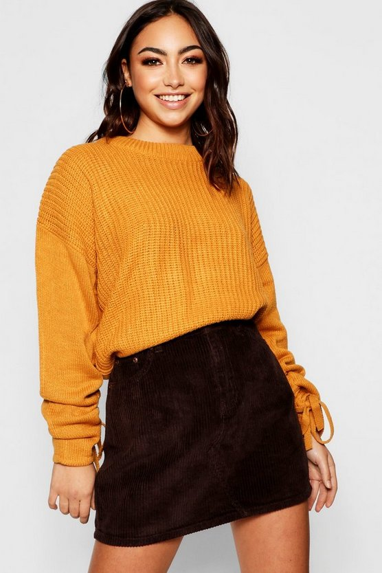 Ruched Sleeve Crop Jumper