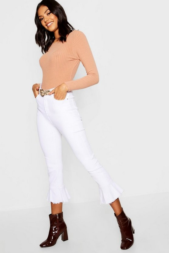 Womens White Frill Hem Denim Jeans