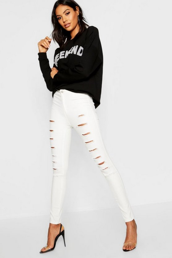 Womens White High rise Distressed Skinny Jean