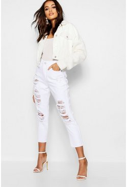 Womens White Distressed Mom Jean