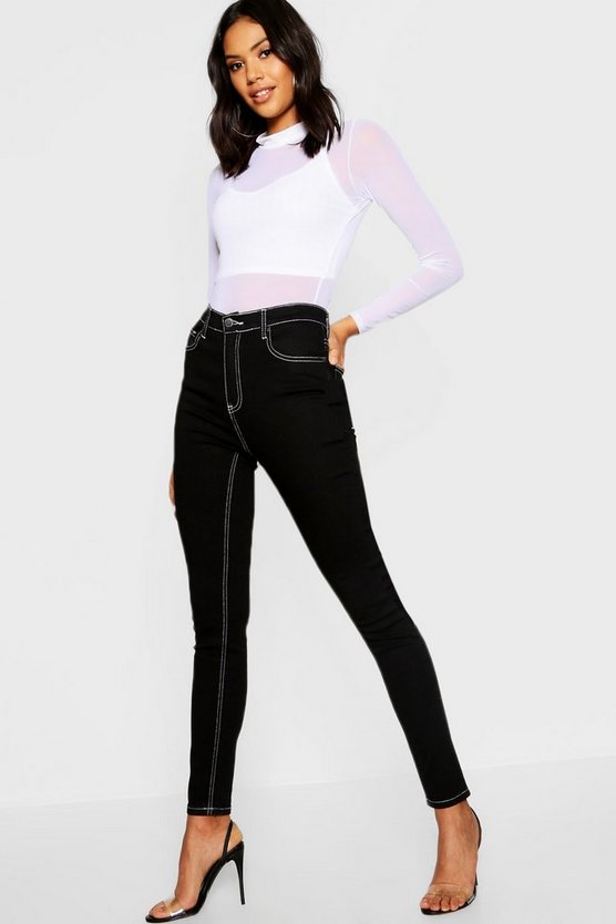Womens Black High Rise Contrast Stitch Skinny Jean