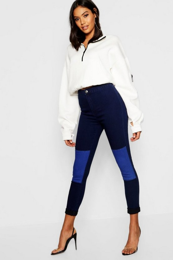 High Rise Patchwork Stretch Jegging