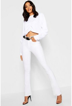 Womens White Kick Flare Jeans