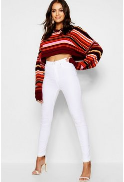 Womens White High Rise Skinny Jean