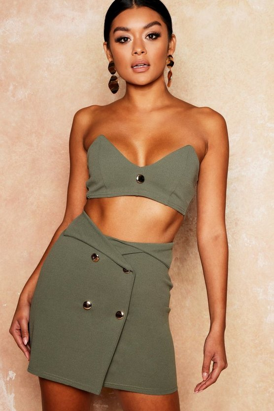 Womens Khaki Gold Button Detail Bandeau + Skirt Co-Ord