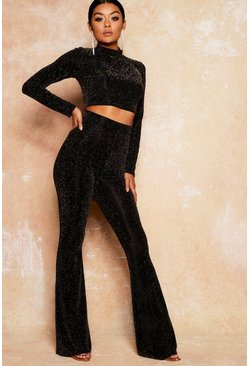 Womens Black High Neck Crop Top Flared Trouser Co- ord
