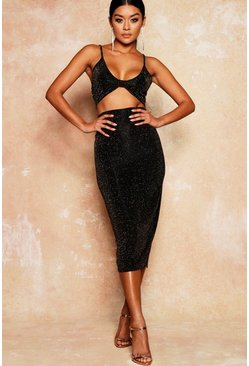 Womens Black Glitter Bralet And Midaxi Skirt Co-Ord Set