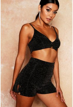 Womens Black Glitter Gold Button Bralet And Short Co-Ord