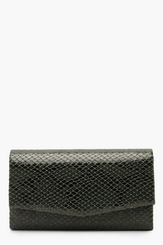 Faux Python Snake Structured Clutch