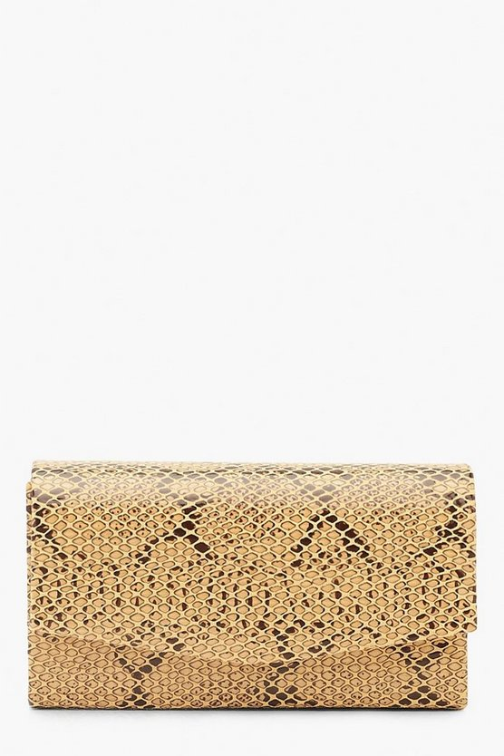 Womens Mustard Faux Python Snake Structured Clutch