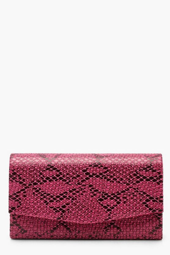 Womens Pink Faux Python Snake Structured Clutch