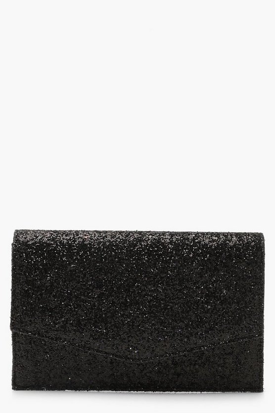 Womens Black Chunky Glitter Envelope Clutch & Chain