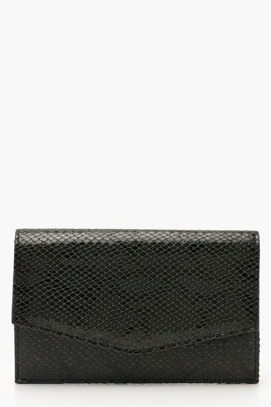 Womens Green Faux Python Snake Envelope Clutch & Chain
