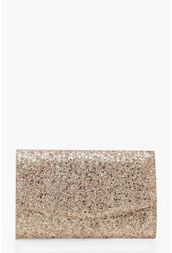 Womens Rose Chunky Glitter Envelope Clutch Bag & Chain
