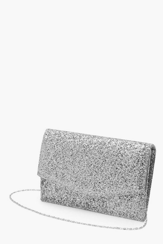 Chunky Glitter Envelope Clutch & Chain