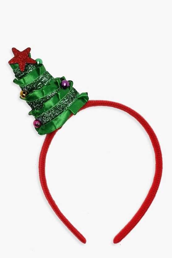 Green Ribbon & Tinsel Christmas Tree Headband