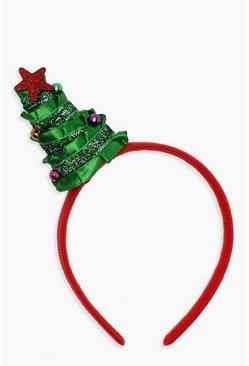 Womens Green Ribbon & Tinsel Christmas Tree Headband