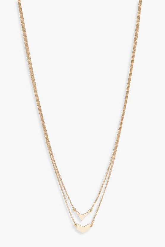 Double Arrow Simple Layered Necklace