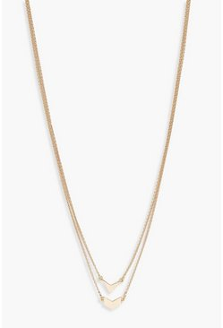 Womens Gold Double Arrow Simple Layered Necklace