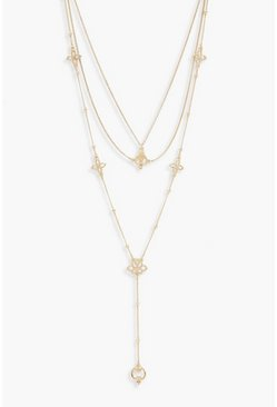 Womens Gold Filigree Layered Plunge Necklace