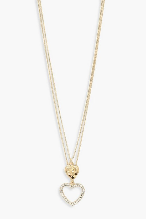 Womens Gold Double Heart Layered Necklace