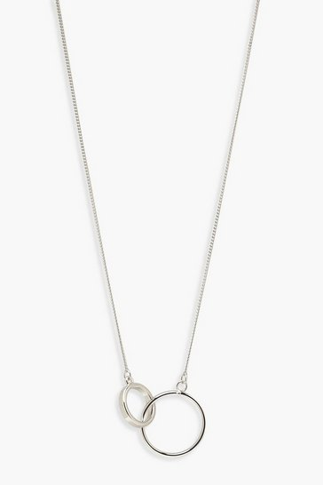 Womens Silver Simple Circle Linked Necklace