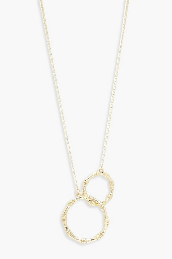 Womens Gold Bambo Effect Linked Circle Necklace