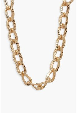 Womens Gold Vintage Look Chunky Chain Necklace