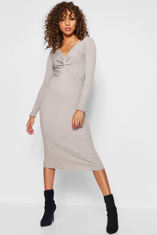 f41b9c57d489 Rib Knit Twist Front Midi Dress. Hover to zoom