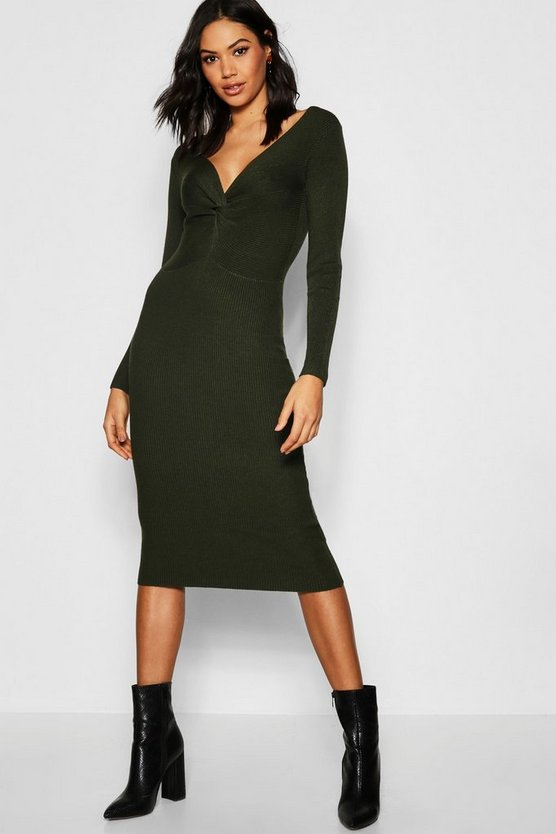Rib Knit Twist Front Midi Dress