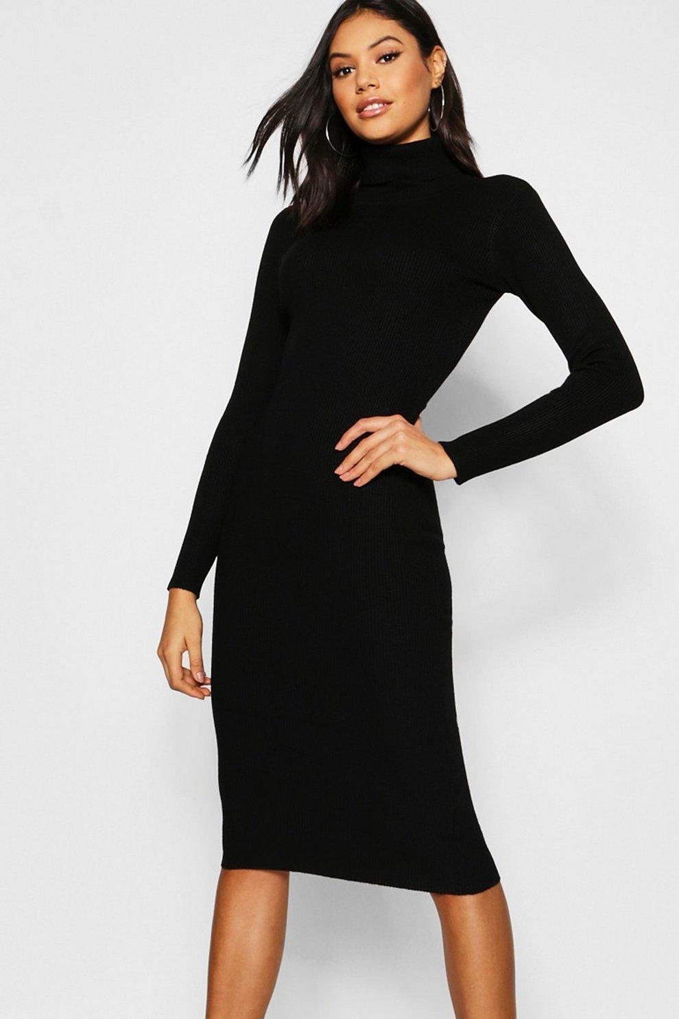 df142bc5dd0 Womens Black Rib Knit Roll Neck Midi Dress
