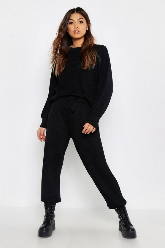 Womens Black Chunky Knit Loungewear Set