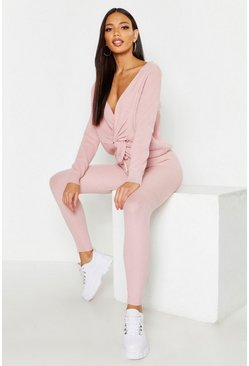 Twist Front Rib Knit Lounge Set, Blush, Женские