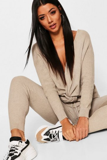 Womens Stone Twist Front Rib Knit Lounge Set