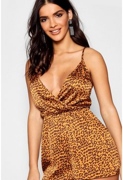 Womens Mustard Leopard Satin Wrap Playsuit