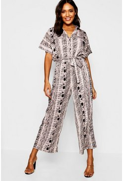 Womens Grey Snakeskin Utility Cargo Pocket Jumpsuit