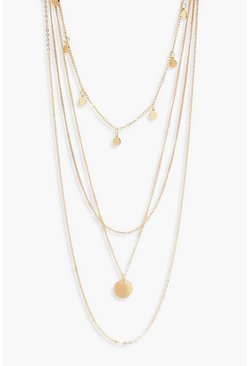 Womens Gold Simple Coin Choker And Chain Layered Necklace